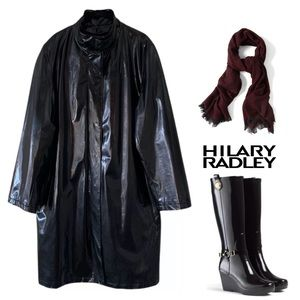 Hilary Radley Jackets & Coats - HILARY RADLEY BLACK WOOL LINED RAIN TRENCH COAT